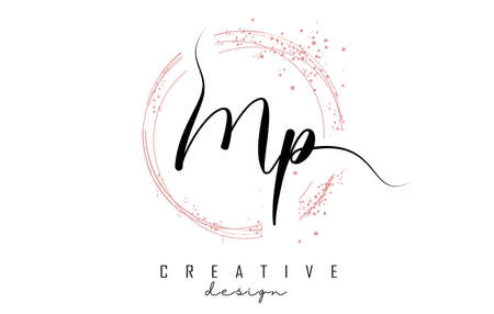 Handwritten Mp M p letter logo with sparkling circles with pink glitter. Decorative vector illustration with M and p letters. 版權商用圖片 - 157938526