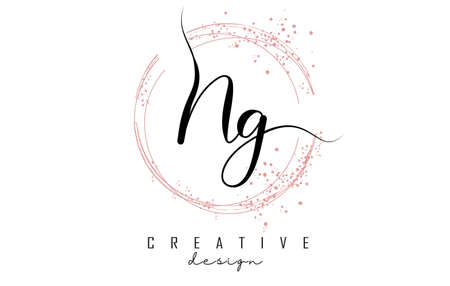 Handwritten NG N G letter logo with sparkling circles with pink glitter. Decorative vector illustration with N and G letters. 版權商用圖片 - 157938528