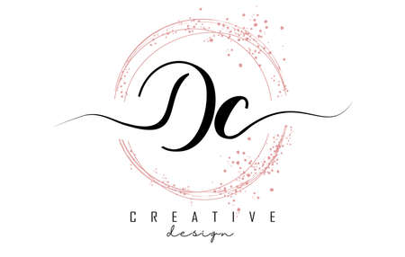 Handwritten Dc D c letter logo with sparkling circles with pink glitter. Decorative vector illustration with D si c letters.
