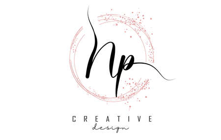 Handwritten Np N p letter logo with sparkling circles with pink glitter. Decorative vector illustration with N and p letters. 版權商用圖片 - 157938535