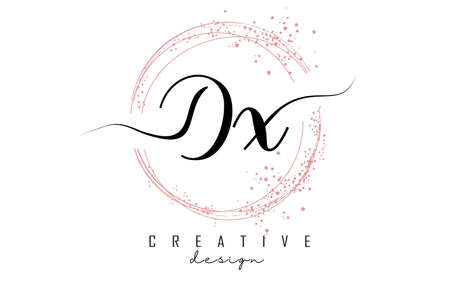 Handwritten DX D X letter logo with sparkling circles with pink glitter. Decorative vector illustration with D and X letters. 版權商用圖片 - 157938540