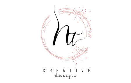 Handwritten Nt N t letter logo with sparkling circles with pink glitter. Decorative vector illustration with N and t letters. 版權商用圖片 - 157938541