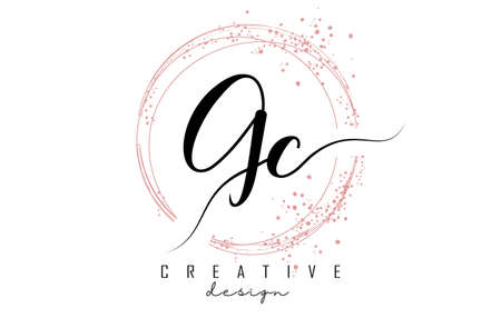 Handwritten GC G C letter logo with sparkling circles with pink glitter. Decorative vector illustration with G and C letters. 版權商用圖片 - 157938591