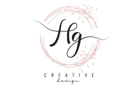 Handwritten HG H G letter logo with sparkling circles with pink glitter. Decorative vector illustration with H and G letters. 版權商用圖片 - 157938599