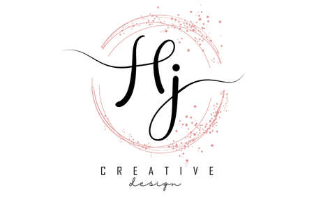 Handwritten HJ H J letter logo with sparkling circles with pink glitter. Decorative vector illustration with H and J letters. 版權商用圖片 - 157938601