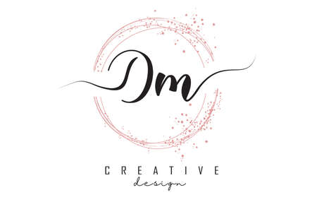 Handwritten Dm D m letter logo with sparkling circles with pink glitter. Decorative vector illustration with D and m letters. 版權商用圖片 - 157938602