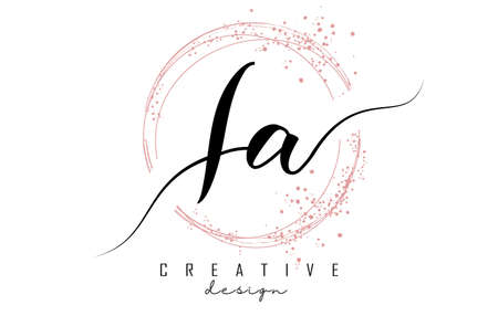 Handwritten IA I A letter logo with sparkling circles with pink glitter. Decorative vector illustration with I and A letters. 版權商用圖片 - 157938603