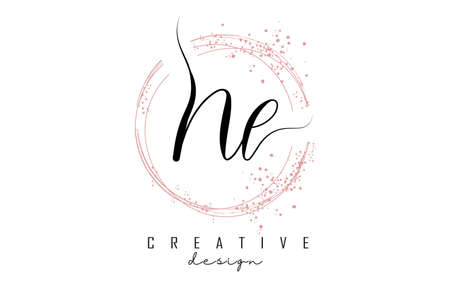 Handwritten NL N L letter logo with sparkling circles with pink glitter. Decorative vector illustration with N and L letters. 版權商用圖片 - 157938604