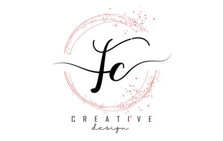 Handwritten FC F C letter logo with sparkling circles with pink glitter. Decorative vector illustration with F and C letters. 版權商用圖片 - 157938633