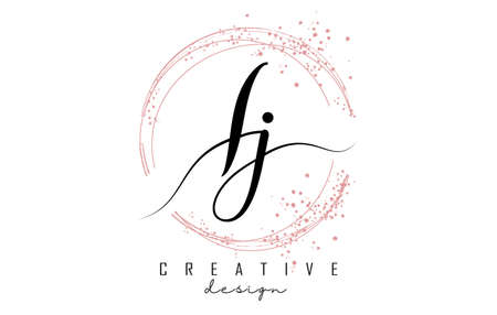 Handwritten Ij I j letter logo with sparkling circles with pink glitter. Decorative vector illustration with I and j letters. 版權商用圖片 - 157938642
