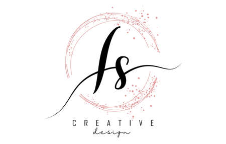 Handwritten IS I S letter logo with sparkling circles with pink glitter. Decorative vector illustration with I and S letters. 版權商用圖片 - 157938651