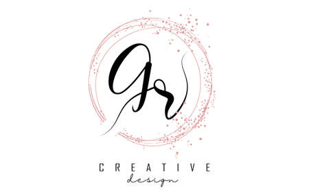 Handwritten GR G R letter logo with sparkling circles with pink glitter. Decorative vector illustration with G and R letters. 版權商用圖片 - 157938678