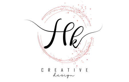 Handwritten HK H K letter logo with sparkling circles with pink glitter. Decorative vector illustration with H and K letters. 版權商用圖片 - 157938680