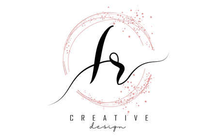 Handwritten IR I R letter logo with sparkling circles with pink glitter. Decorative vector illustration with I and R letters. 版權商用圖片 - 157938690