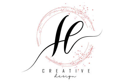 Handwritten IL I L letter logo with sparkling circles with pink glitter. Decorative vector illustration with I and L letters. 版權商用圖片 - 157938694