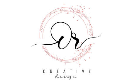 Handwritten Or O r letter logo with sparkling circles with pink glitter. Decorative vector illustration with O and r letters. Ilustração