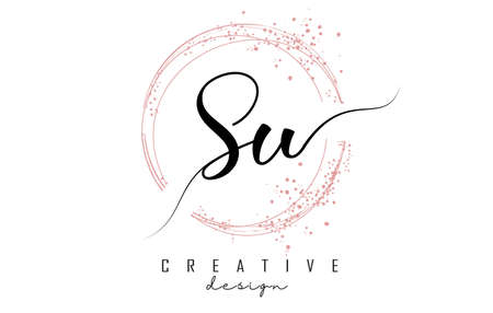 Handwritten SU S U letter logo with sparkling circles with pink glitter. Decorative vector illustration with S and U letters.