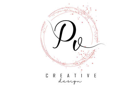 Handwritten Pv P v letter logo with sparkling circles with pink glitter. Decorative vector illustration with P and v letters.