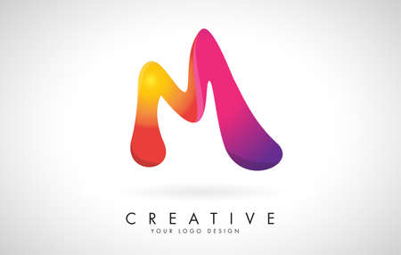Letter M Creative Logo Design. Vector Font of twisted Ribbon for Title, Header, Lettering, Logo and Corporate Identity. Colorful rounded Letter M. Friendly Corporate Entertainment Media Technology Digital Business template. 向量圖像