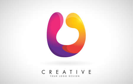 Letter U Creative Logo Design. Vector Font of twisted Ribbon for Title, Header, Lettering, Logo and Corporate Identity. Colorful rounded Letter U. Friendly Corporate Entertainment Media Technology Digital Business template.