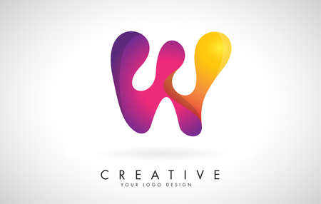Letter W Creative Logo Design. Vector Font of twisted Ribbon for Title, Header, Lettering, Logo and Corporate Identity. Colorful rounded Letter W. Friendly Corporate Entertainment Media Technology Digital Business template. 向量圖像