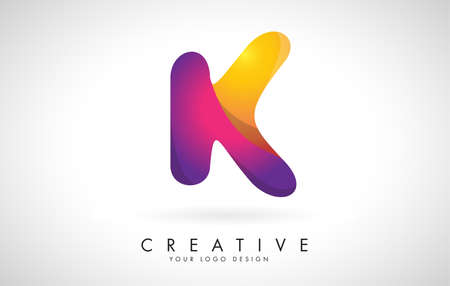 Letter K Creative Logo Design. Vector Font of twisted Ribbon for Title, Header, Lettering, Logo and Corporate Identity. Colorful rounded Letter K. Friendly Corporate Entertainment Media Technology Digital Business template.