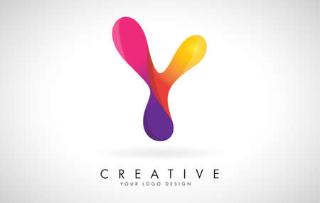 Letter Y Creative Logo Design. Vector Font of twisted Ribbon for Title, Header, Lettering, Logo and Corporate Identity. Colorful rounded Letter Y. Friendly Corporate Entertainment Media Technology Digital Business template. 向量圖像