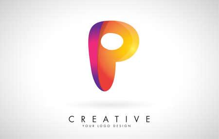 Letter P Creative Logo Design. Vector Font of twisted Ribbon for Title, Header, Lettering, Logo and Corporate Identity. Colorful rounded Letter P. Friendly Corporate Entertainment Media Technology Digital Business template.