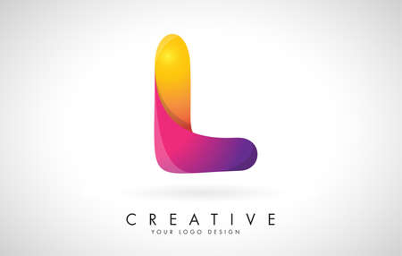 Letter L Creative Logo Design. Vector Font of twisted Ribbon for Title, Header, Lettering, Logo and Corporate Identity. Colorful rounded Letter L. Friendly Corporate Entertainment Media Technology Digital Business template.