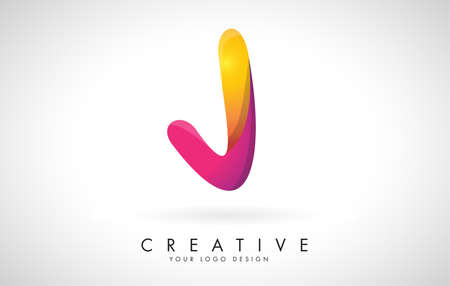 Letter J Creative Logo Design. Vector Font of twisted Ribbon for Title, Header, Lettering, Logo and Corporate Identity. Colorful rounded Letter J. Friendly Corporate Entertainment Media Technology Digital Business template.