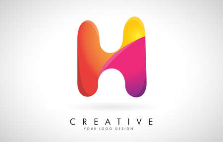 Letter H Creative Logo Design. Vector Font of twisted Ribbon for Title, Header, Lettering, Logo and Corporate Identity. Colorful rounded Letter H. Friendly Corporate Entertainment Media Technology Digital Business template.