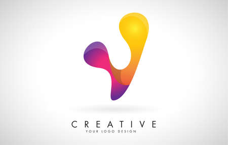 Letter V Creative Logo Design. Vector Font of twisted Ribbon for Title, Header, Lettering, Logo and Corporate Identity. Colorful rounded Letter V. Friendly Corporate Entertainment Media Technology Digital Business template. 向量圖像