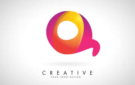 Letter Q Creative Logo Design. Vector Font of twisted Ribbon for Title, Header, Lettering, Logo and Corporate Identity. Colorful rounded Letter Q. Friendly Corporate Entertainment Media Technology Digital Business template.