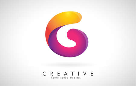 Letter G Creative Logo Design. Vector Font of twisted Ribbon for Title, Header, Lettering, Logo and Corporate Identity. Colorful rounded Letter G. Friendly Corporate Entertainment Media Technology Digital Business template. 向量圖像