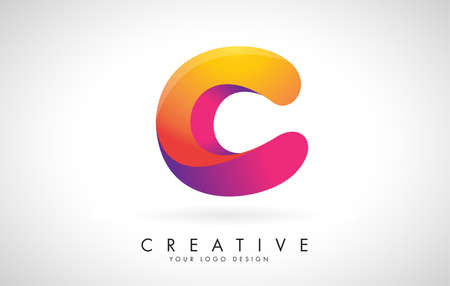 Letter C Creative Logo Design. Vector Font of twisted Ribbon for Title, Header, Lettering, Logo and Corporate Identity. Colorful rounded Letter C. Friendly Corporate Entertainment Media Technology Digital Business template. 向量圖像