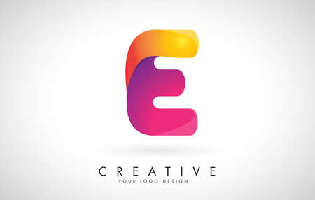 Letter E Creative Logo Design. Vector Font of twisted Ribbon for Title, Header, Lettering, Logo and Corporate Identity. Colorful rounded Letter E. Friendly Corporate Entertainment Media Technology Digital Business template.