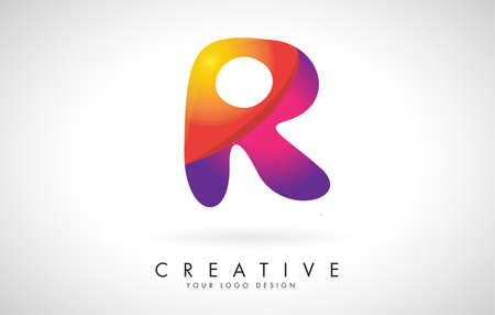 Letter R Creative Logo Design. Vector Font of twisted Ribbon for Title, Header, Lettering, Logo and Corporate Identity. Colorful rounded Letter R. Friendly Corporate Entertainment Media Technology Digital Business template.