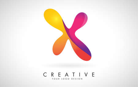 Letter X Creative Logo Design. Vector Font of twisted Ribbon for Title, Header, Lettering, Logo and Corporate Identity. Colorful rounded Letter X. Friendly Corporate Entertainment Media Technology Digital Business template.