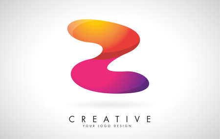 Letter Z Creative Logo Design. Vector Font of twisted Ribbon for Title, Header, Lettering, Logo and Corporate Identity. Colorful rounded Letter Z. Friendly Corporate Entertainment Media Technology Digital Business template. 向量圖像