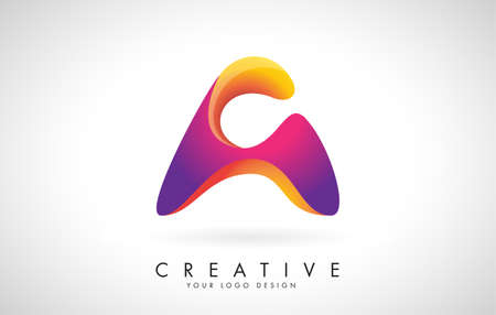 Letter A Creative Logo Design. Vector Font of twisted Ribbon for Title, Header, Lettering, Logo and Corporate Identity. Colorful rounded Letter A. Friendly Corporate Entertainment Media Technology Digital Business template.