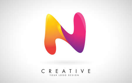 Letter N Creative Logo Design. Vector Font of twisted Ribbon for Title, Header, Lettering, Logo and Corporate Identity. Colorful rounded Letter N. Friendly Corporate Entertainment Media Technology Digital Business template.