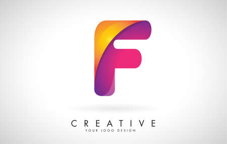 Letter F Creative Logo Design. Vector Font of twisted Ribbon for Title, Header, Lettering, Logo and Corporate Identity. Colorful rounded Letter F. Friendly Corporate Entertainment Media Technology Digital Business template.