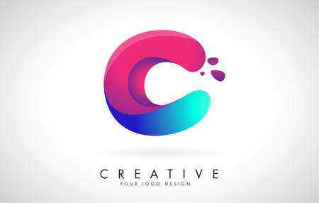 Blue and Pink creative letter C Logo Design with Dots. Friendly Corporate Entertainment, Media, Technology, Digital Business vector design with drops. Rounded Vector Letter of twisted Ribbon for Title, Header, Lettering, Logo and Corporate Identity.