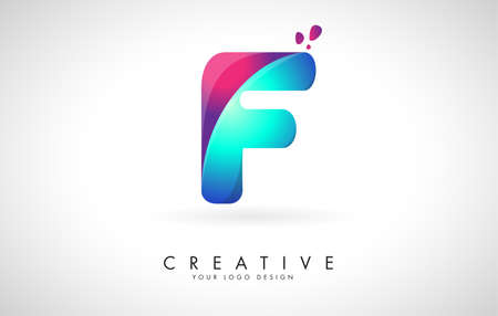 Blue and Pink creative letter F Logo Design with Dots. Friendly Corporate Entertainment, Media, Technology, Digital Business vector design with drops. Rounded Vector Letter of twisted Ribbon for Title, Header, Lettering, Logo and Corporate Identity.