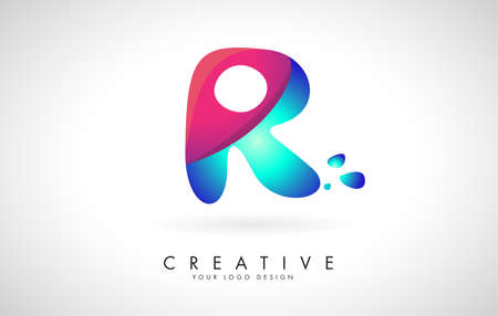 Blue and Pink creative letter R logo Design with Dots. Friendly Corporate Entertainment, Media, Technology, Digital Business vector design with drops. Rounded Vector Letter of twisted Ribbon for Title, Header, Lettering, Logo and Corporate Identity. 向量圖像