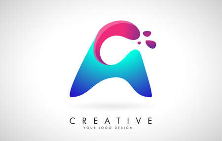 Blue and Pink creative letter A Logo Design with Dots. Friendly Corporate Entertainment, Media, Technology, Digital Business vector design with drops. Rounded Vector Letter of twisted Ribbon for Title, Header, Lettering, Logo and Corporate Identity.