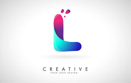 Blue and Pink creative letter L ogo Design with Dots. Friendly Corporate Entertainment, Media, Technology, Digital Business vector design with drops. Rounded Vector Letter of twisted Ribbon for Title, Header, Lettering, Logo and Corporate Identity.