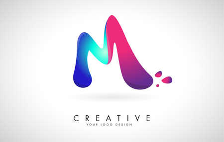 Blue and Pink creative letter M logo Design with Dots. Friendly Corporate Entertainment, Media, Technology, Digital Business vector design with drops. Rounded Vector Letter of twisted Ribbon for Title, Header, Lettering, Logo and Corporate Identity.