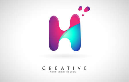Blue and Pink creative letter H Logo Design with Dots. Friendly Corporate Entertainment, Media, Technology, Digital Business vector design with drops. Rounded Vector Letter of twisted Ribbon for Title, Header, Lettering, Logo and Corporate Identity.