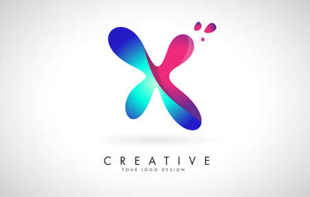 Blue and Pink creative letter X logo Design with Dots. Friendly Corporate Entertainment, Media, Technology, Digital Business vector design with drops. Rounded Vector Letter of twisted Ribbon for Title, Header, Lettering, Logo and Corporate Identity.